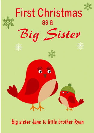 Personalised Big Sister to Little Brother Christmas Card Design 3